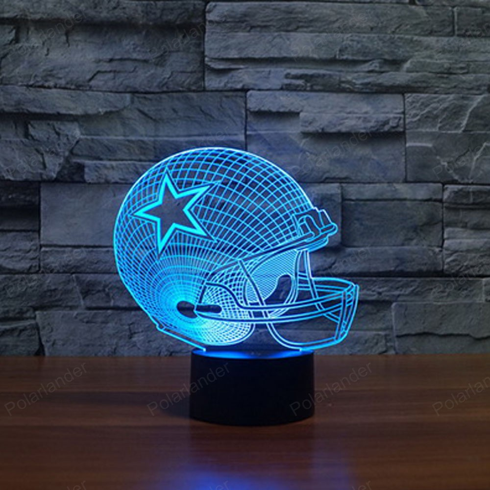 Colorful Novetly lighting night light Illusion Lamp with touch switch Dallas  Cowboys 3d lights USB LED