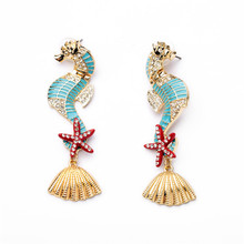 LUBOV Gorgeous Sea Horses Starfish Seashell Design Personality Statement Earrings Women Fashion Piercing New Jewelry