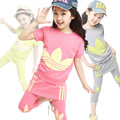 Girl's Active Clothing Sets for Summer Children Clothing Cotton Set  2Pcs / Short Sleeve T-shirt & Skirted Pants