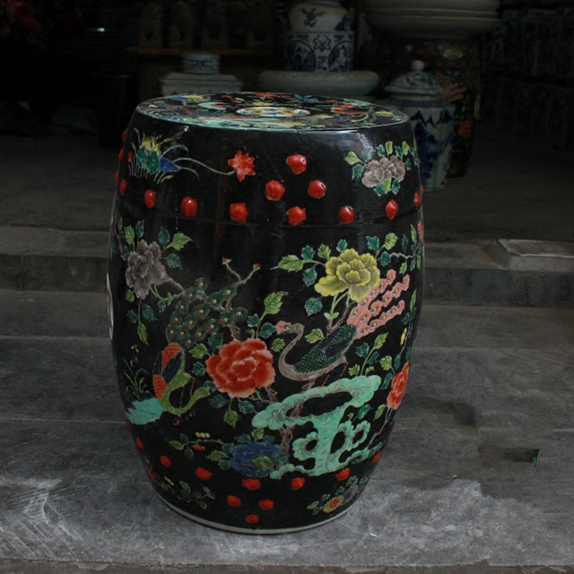 Black Crane Jingdezhen Porcelain Garden Stool Ceramic Stool For
