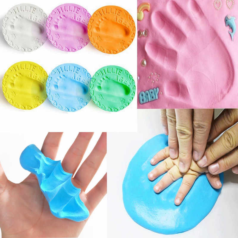 baby care Air Drying Soft Clay Baby Handprint Footprint Imprint Kit Casting Parent-child hand ink pad fingerprint 22