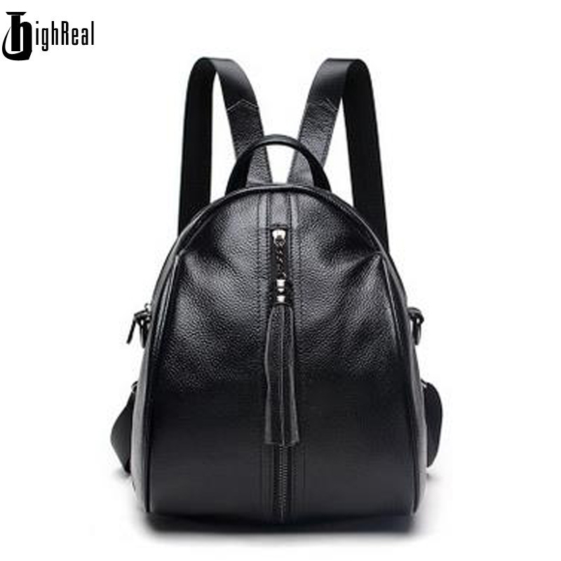 HIGHREAL Genuine Leather Backpack Women Female Fashion Brand Real Cow Skin Designer Backpacks School Bags For Girls Teenagers