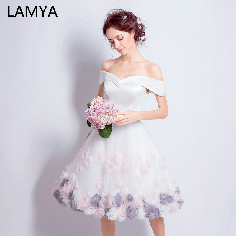 LAMYA Off The Shoulder Appliques Prom Dresses Short Elegant Contrast Color Evening Party Dress Formal Gown For Graduation