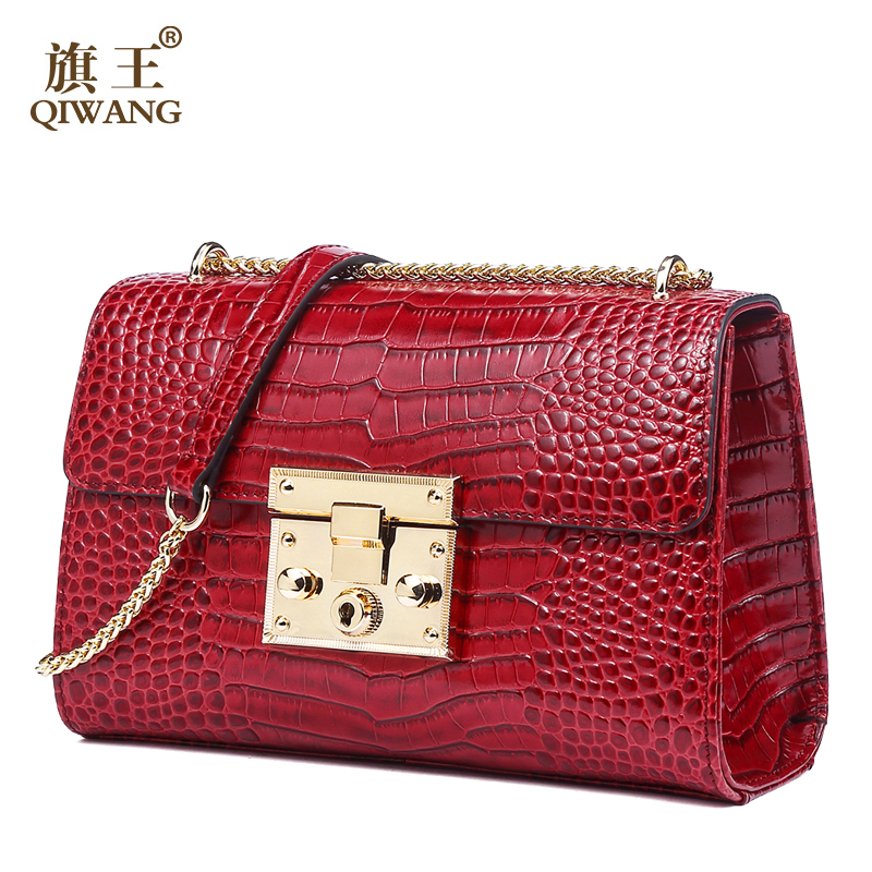 Brand Genuine Leather Bag Women Luxury Handbags Women Bags Designer Chain Shoulder Bags for Women Red Bag qiwang genuine leather bag women luxury handbags women bags designer chain shoulder bags for women new year red bag quality gift