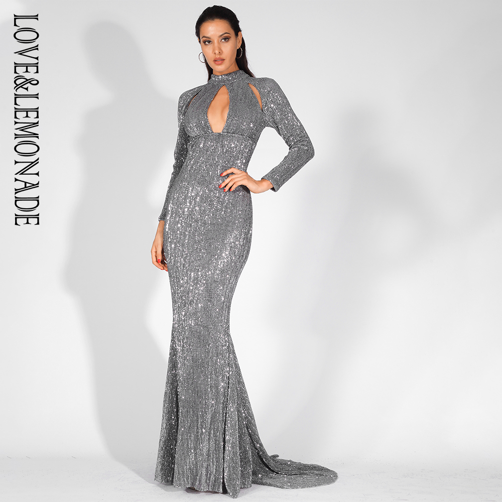 Love Lemonade Sexy Cut Out Stand Elastic Sequins Long Dress LM81525