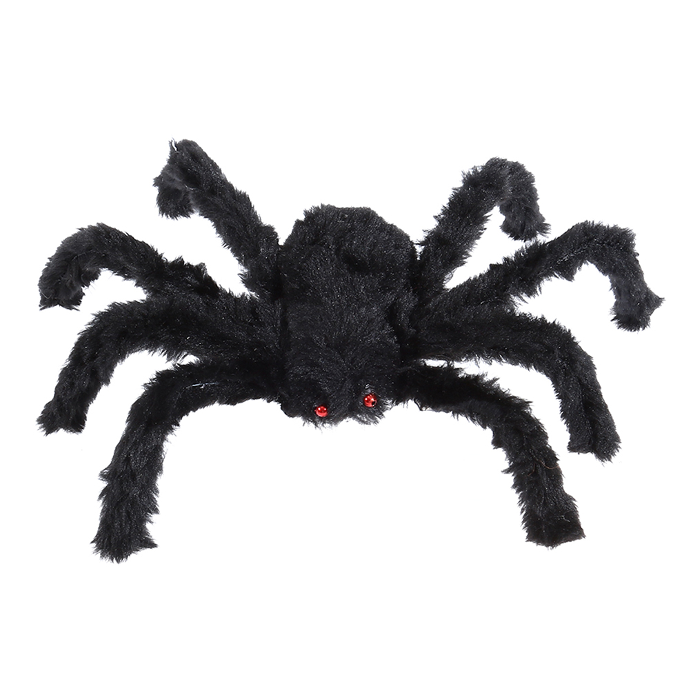 60cm 50g Black Large Spider Plush Toy Halloween Scary Decoration Party Props (Black)