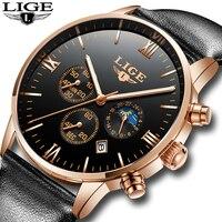 Men Watches Luxury Brand LIGE Multi Function Mens Sport Quartz Watch Man Waterproof Leather Business Clock