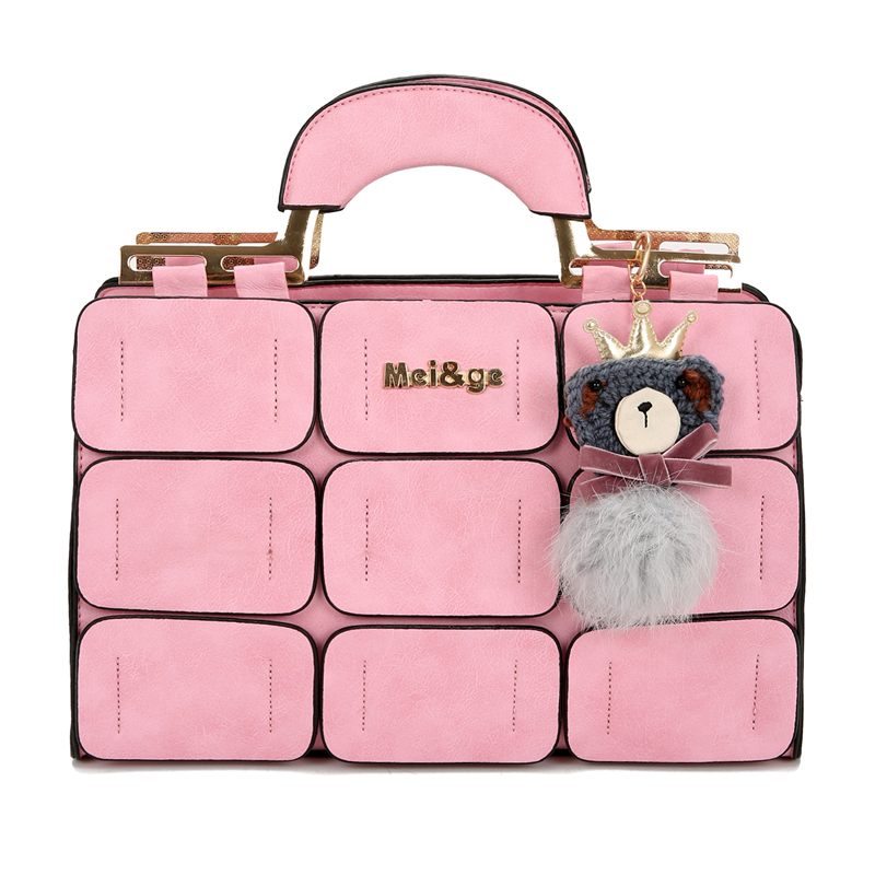 Patchwork Handbag Totes Inclined-Bag Sequined Large Women Boston Fur Fur-Ball Bolso-Mujer