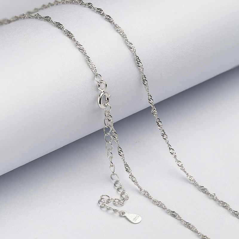 925 Sterling Silver 1.3mm Water-wave Necklace Chain Fit for Pendant Charm for Women S925 Jewelry Gift