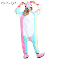 New Colorful Adult Unicorn Pajamas Onesie Kigurumi Warm Winter Flannel Pajamas For Women Animal Cosplay Costume