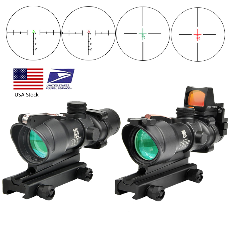 Trijicon ACOG 4X32 Real Fiber Optics Red Dot Illuminated Chevron Glass Etched Reticle Tactical Optical Scope