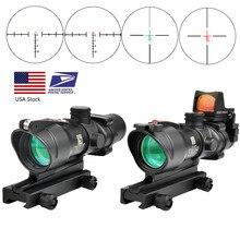 Trijicon ACOG – réticule optique de chasse, Fiber optique réelle 4x32, points rouges éclairés, Chevron en verre gravé