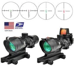 Trijicon оптическим 4X32 реальные оптоволоконного кабеля в красный горошек с подсветкой шеврон Стекло гравированный сетка тактический оптическ...