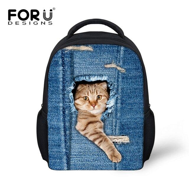 Fashion Children Backpack Cute Denim Cat Print For Kids Small Little Girls Kindergarten Book Bags