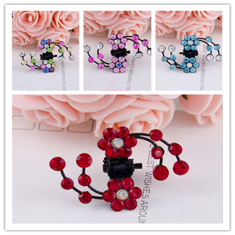 Happy 6Pcs/Lot New Fashion Artificial Crystal Small Flower Shape Mini Hair Claw Clamp Bridal Jewelry Accessory For Women Girls