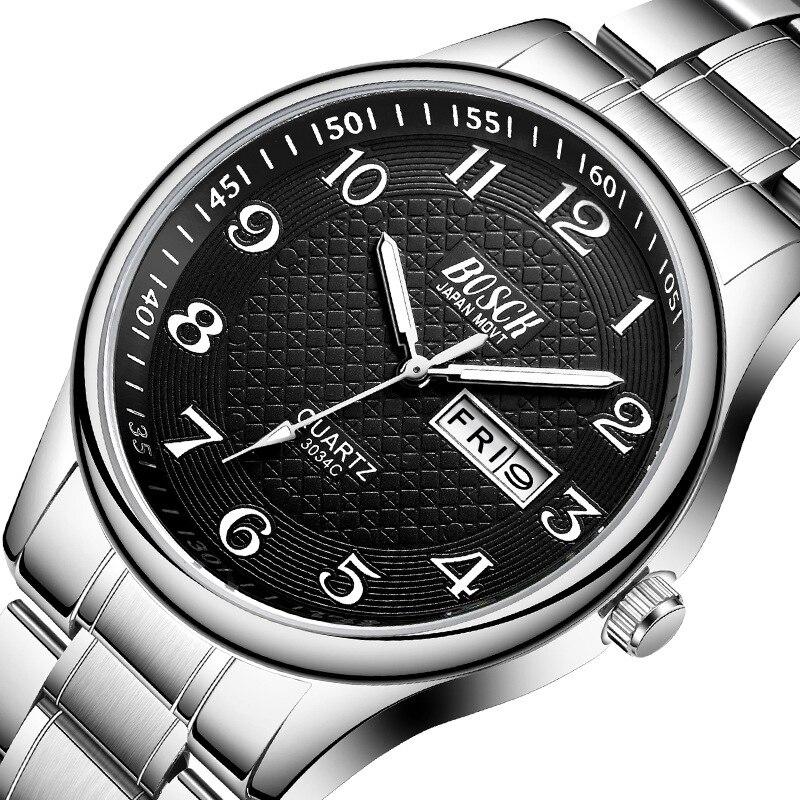 Homens Relógio de Luxo Completa Aço Relógios Moda Quartz Relógio de Pulso À Prova D' Água Data Masculino Relógio Relogio masculino Relojes Pará Hombre