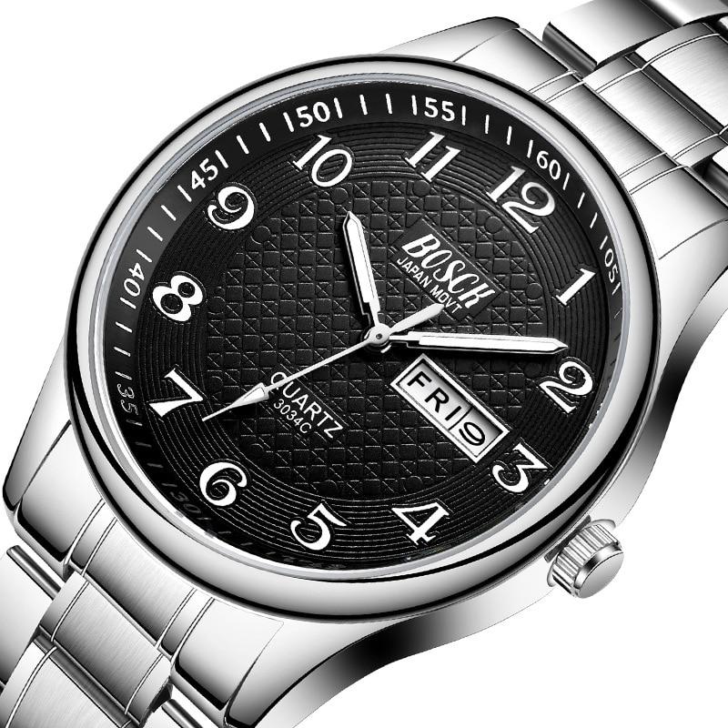 Men's Watch Luxury Full Steel Watches Fashion Quartz Wristwatch Waterproof Date Male Clock Relogio Masculino Relojes Para Hombre