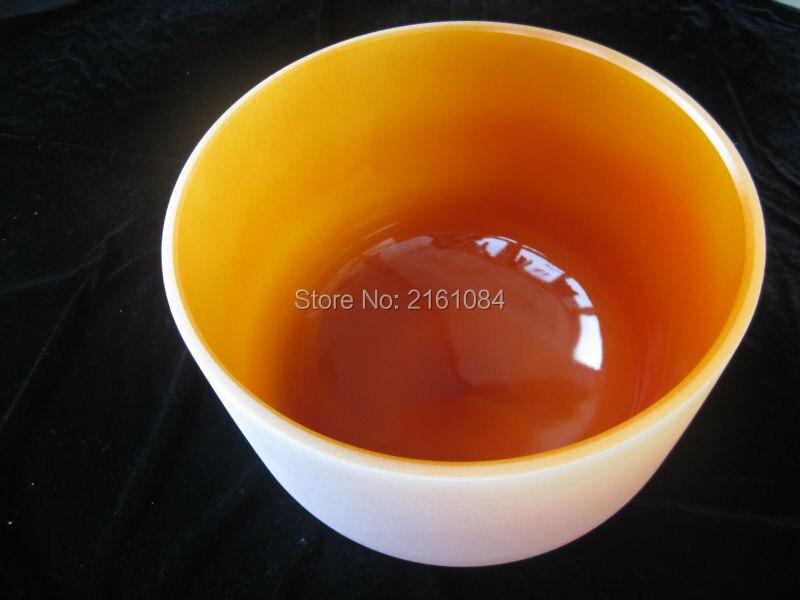 12 Оранжевый цвет D Сакральная чакра Матовый Кварцевый Поющая чаша с бесплатным замшевым и o образным кольцом
