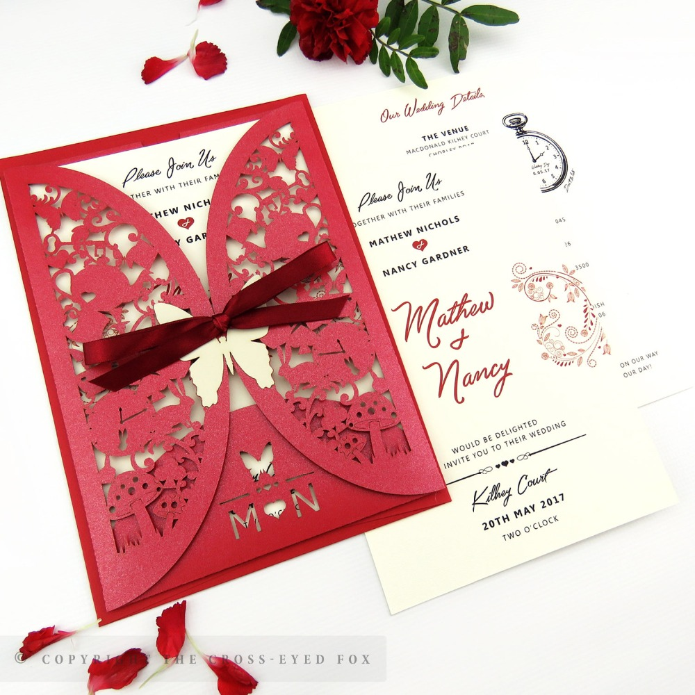 50pcs Personalized Laser cut Alice Wedding Stationery suite,Wedding ...