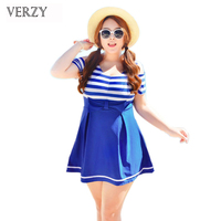 Sexy Blue Stripes One Piece Swimsuits Women Beach Dress Swimming Suit Plus Size Swimwear Maillot De