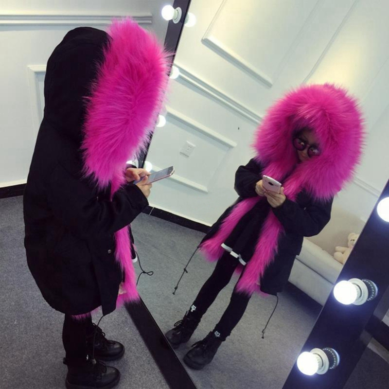 цены Winte Faux Fox Fur Jacket For Girls Children Parkas Hooded Coat Girls Boys Fur Collar Coat Kids Outwear Jacket Thick Warm TZ277