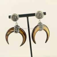 New 3Pairs Brown Shell Crescent Moon Earrings With Crystal Rhinestone Paved Fashion Druzy Earring Charm