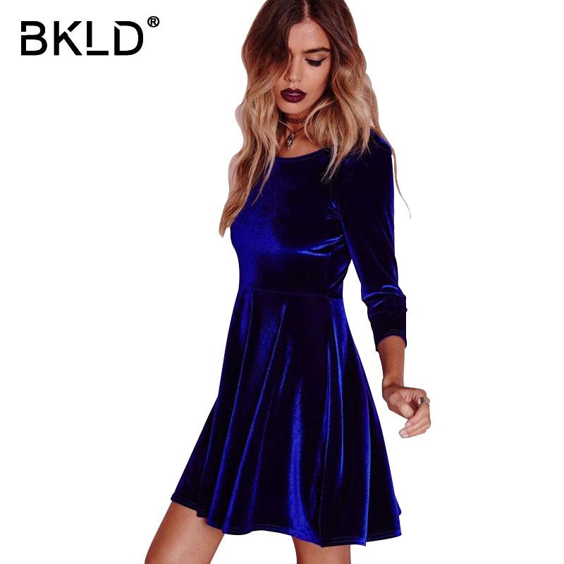 c6f2f7f75b BKLD Autumn2018 Red Velvet A line Dress Women Three Quarter Sleeve O ...