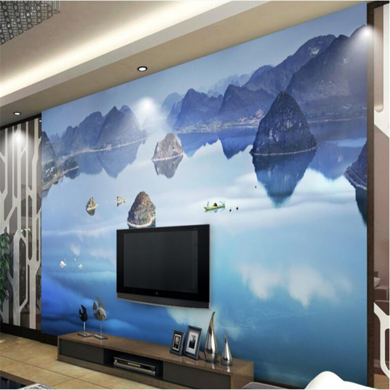 beibehang Large - scale custom wallpaper world landscape 3D landscape TV wall waterproof wallpaper for bathroom