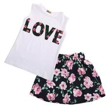 Girls Skirts Flower Outfits T Shirt Tops Vest + Floral Skirt 2 Pics Fashion Baby Girls Clothes Love Girl Clothes(China)