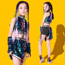 New 2019 Girls Jazz Dance Clothing Suit Girls Sequins Show Tide Clothes Children's Modern Hip-hop Costumes Tide(China)