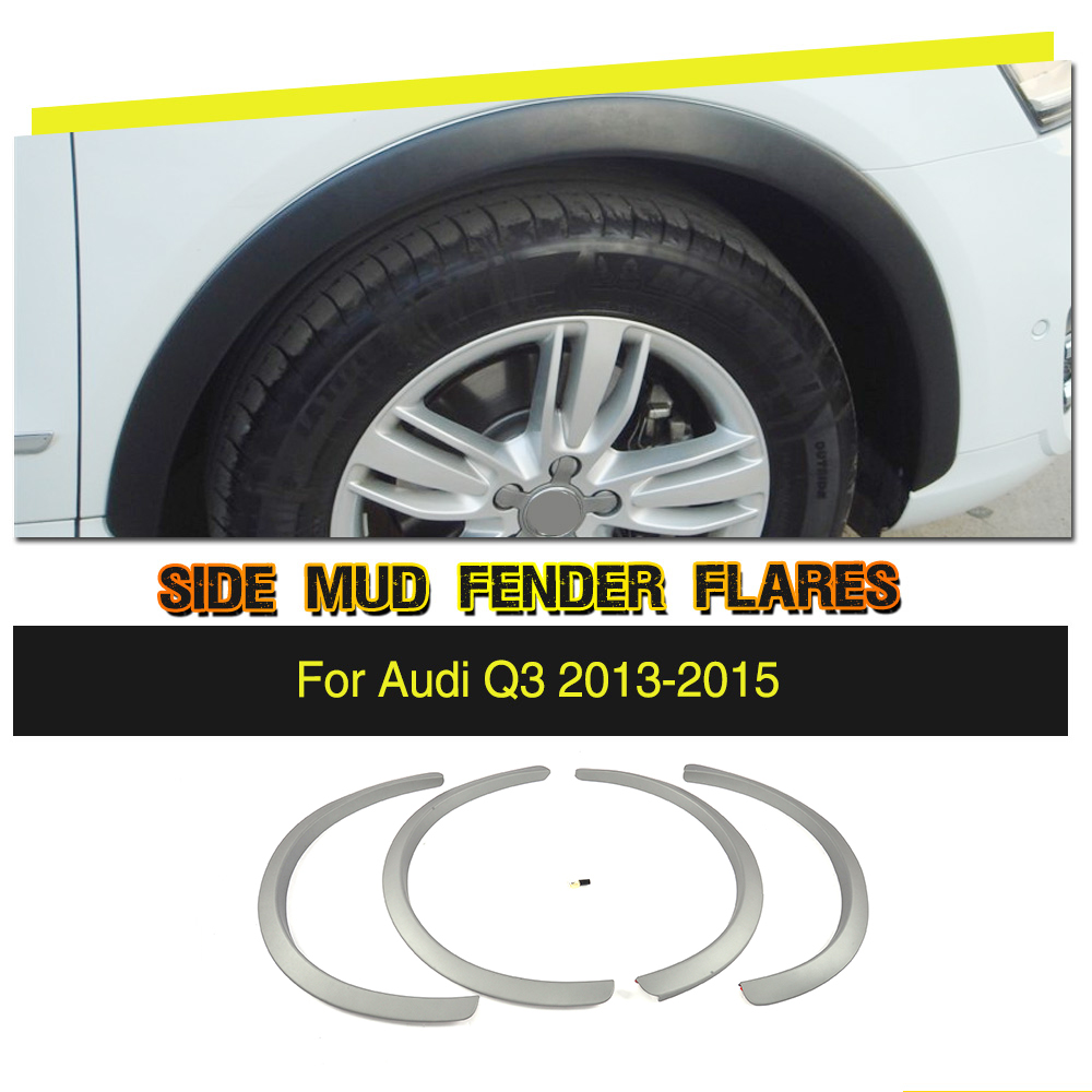 4PCS/Set Car Wheel Arch Fender Flares Extension Arches Mudguards Strip Trims for Audi Q3 2013 - 2015 PP UNpainted Gray Primer