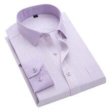 Autumn New 2018 Striped Male Dress Shirt Formal Fashion Long Sleeve Business Men Casual Shirt Regular Fit Plus Size S- 5XL