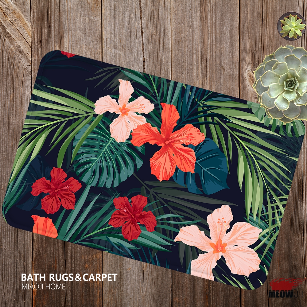 [MIAOJI] The Lush Leaves Flower Vital Strikingly Color Soft Feet Dust Rub Carpet Doormat Bath Mat Absorbent Non-Slip
