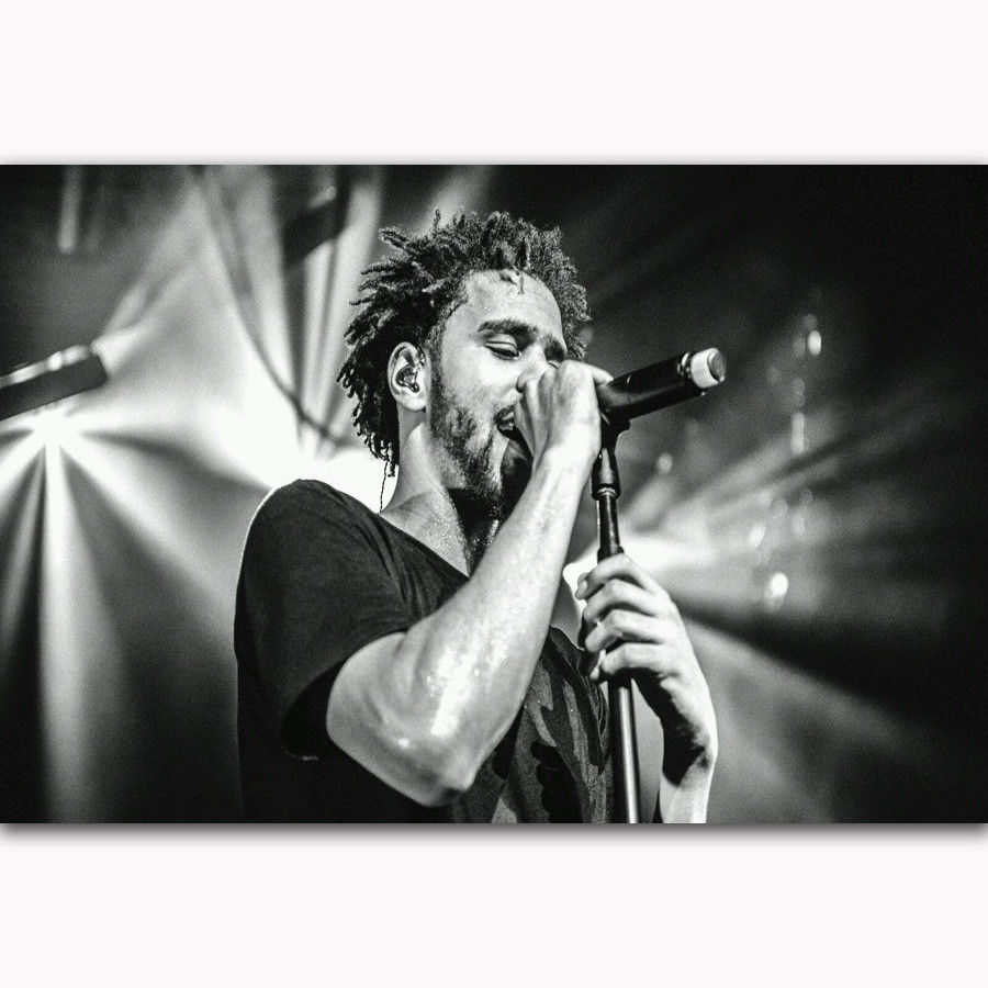 Hot J COLE Rapper Hip Hop Artist Stage-Silk Art Poster Wall Sicker Decoration Gift image
