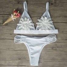 Embroidery White Flower bikini set NA01