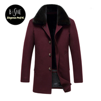 Winter Coat Men Wool Slim Pea Jacket Trench Coat With Fur Collar For Men Thick Outerwear