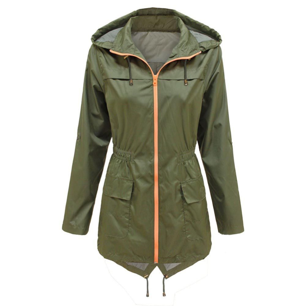 2019 New Women Slim Waist Waterproof Hooded Coat Casual Windproof Outwear With Pockets Solid Zippers   Trench
