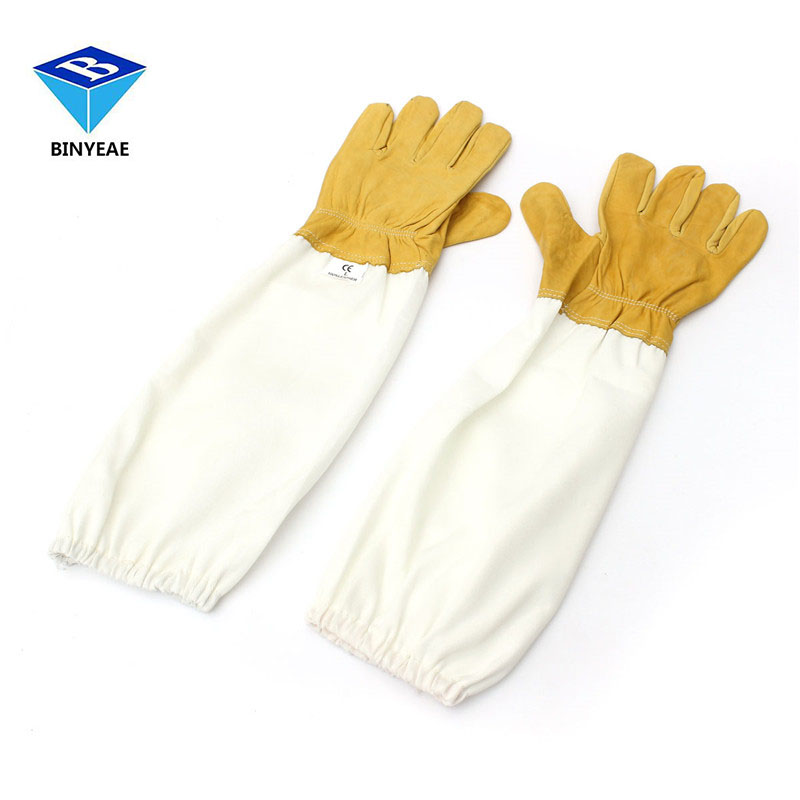 Protective Beekeeping Gloves Goatskin Bee Keeping With Vented Long Sleeves Yellow+white L Sheepskin Ventilation Fabric handled honey refractometer tester beekeeping tool honey bee refractometer