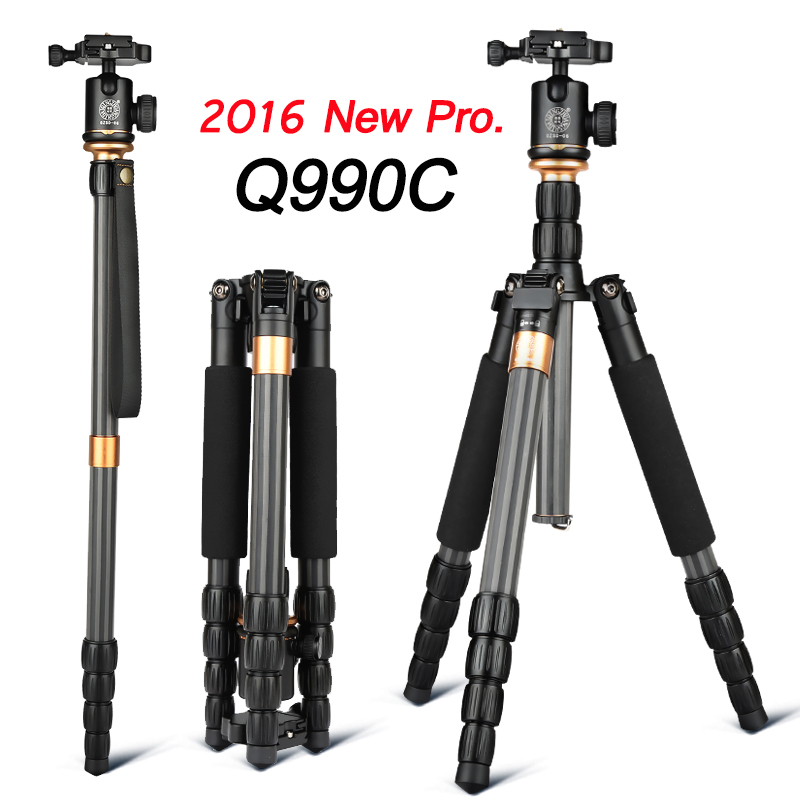 Qingzhuangshidai Q990C Professional Photography Carbon Fiber Camera Tripod Monopod with Ballhead Traveling For DSLR Canon Nikon aluminium alloy professional camera tripod flexible dslr video monopod for photography with head suitable for 65mm bowl size