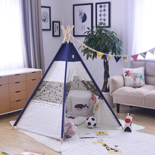 Ins Hot Baby House Dot English Letter Printed Children Teepee Five Poles Kids Play Tent Cotton