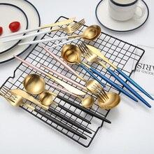 Дешевые 4 шт Черное золото столовые приборы набор столовых приборов из нержавеющей стали набор ножей набор вилок столовые приборы Западный набор еды