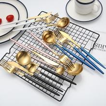 Tanie 4 sztuk czarny złoty zestaw sztućców ze stali nierdzewnej stalowe sztućce zestaw noży zestaw widelców stołowe Cutleries zachodniej zestaw żywności