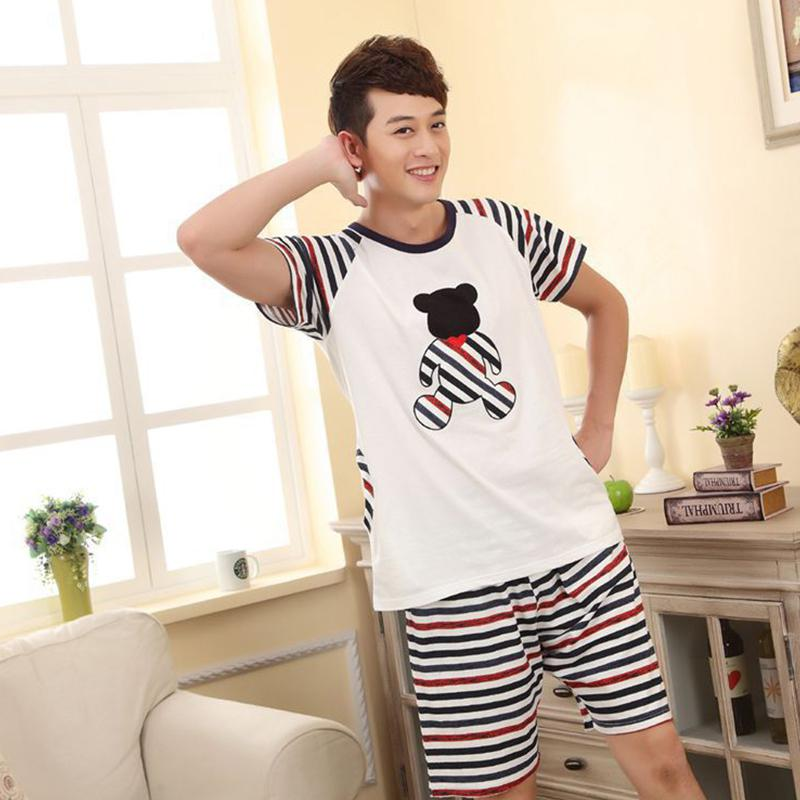 MISSKY Men Women Pajama Sets Fashion Summer Cute Cartoon Breathable Milk Silk  Home Wear Suit Male Clothes