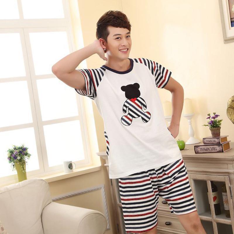 MISSKY Men Women Pajama Sets Fashion Summer Cute Cartoon Breathable Milk Silk  Home Wear Suit Male Clothes