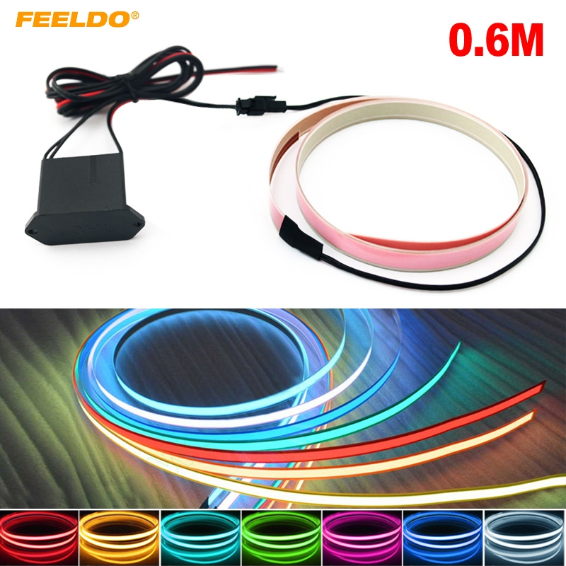 FEELDO 5Pcs Car 60CM*14MM Electroluminescent Tape EL Wire Cold Light Strip Car Ambient Light DC12V #MX4466