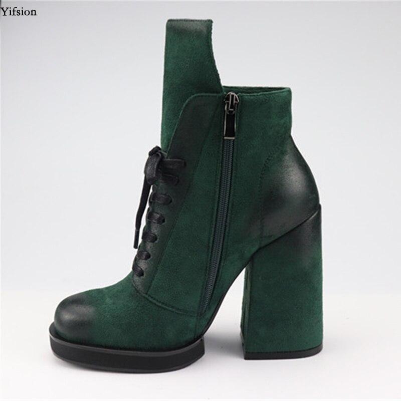 Tacón Del Casuales Zapatos Yifsion Más Agradable Botas Dedo Green Elegante Tamaño Cuadrado 5 d0713 Alta Verde Redondo Mujer De 9 D0713 Black Pie Tobillo Negro Nosotros 88pAnavq