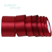 25 ярдов/рулон) бордовая односторонняя атласная лента подарочная упаковка рождественские ленты