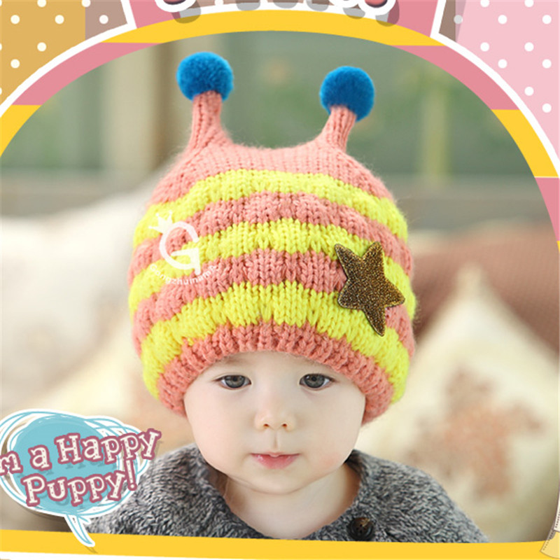 Hat Girls Boys Baby Kids Striped Star Bee Crochet Earflap Hat Beanie Baby Winter Snow Hats Cap 4-24 Months