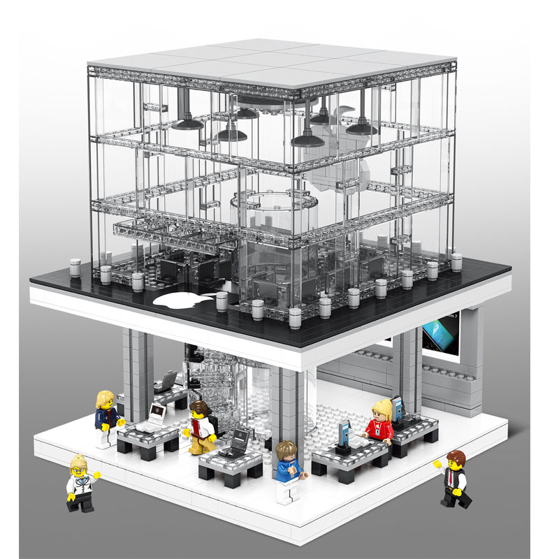 compatible lepin architecture sembo blocks sd6900 apple store with LED flagship city street view brick toys gift for children hot sembo block compatible lepin architecture city building blocks led light bricks apple flagship store toys for children gift
