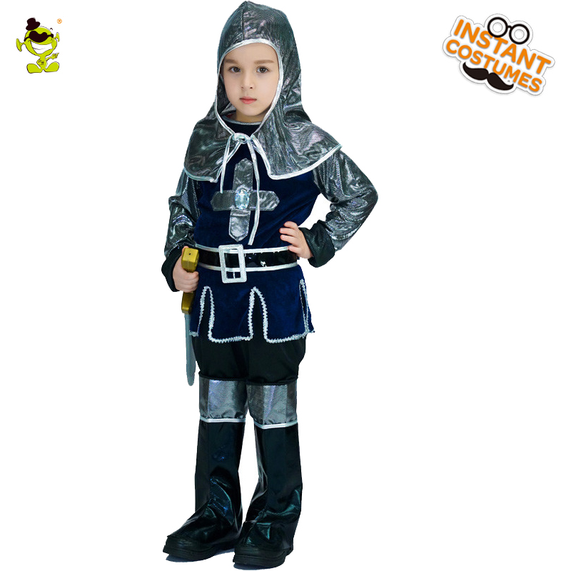 Kids Renaissance Warrior Costumes Boys Classical Kight Decoration Cothing for Retro People Role Play Party